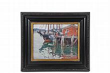 MABEL MAY WOODWARD (RI/ME, 1877-1945) - Man Loading Three Mast Schooner at Pier, Maine, oil on canvas, unsigned, in replica Arts & Crafts frame. OS: 12 1/2