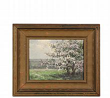 AMERICAN IMPRESSIONIST LANDSCAPE - Apple Blossoms, oil on artist's board, cut down, with partial signature lower left,