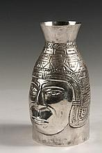 CARAFE - South American Sterling Silver Handleless Vessel with repousse decoration depicting the head of an Incan man, probably Peruvian; marked on base with