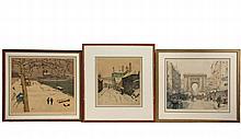 TAVIK FRANTISEK SIMON (Czech, France, NY, 1877-1946) - (3) Soft Ground Aquatint Lithograph Prints, all pencil signed, including: