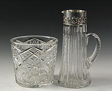 (2) CUT GLASS BAR ACCESSORIES - American Brilliant Cut Leaded Crystal Ice Bucket, 6 1/4