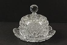 CUT GLASS COVERED BUTTER DISH - American Brilliant Cut Crystal Butter or Cheese Dish with lobed edge, with faceted knop, 8 1/2
