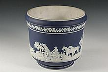 ADAMS JARDINIERE - Fox Hunting Themed Jasperware Cache Pot in white over cobalt blue, circa 1890, marked on underside 'Adams, Tunstall, England', 7 3/4