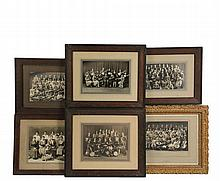 (6) FRAMED MAINE HISTORICAL PHOTOS - Lewiston-Auburn High School Photos circa 1920-1925, including three in matching oak frames of the 1924, 1925 & 1926 Mandolin, Banjo, Guitar and Ukelele Club, 6 1/2
