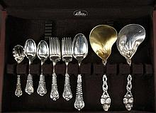 FLATWARE - (49) Pieces of Sterling Silver Flatware by Tiffany & Co. in various patterns, including: (27) pieces of Florentine pattern (with (12) teaspoons, (12) dinner forks, (2) tablespoons, and (1) sugar spoon), wit...