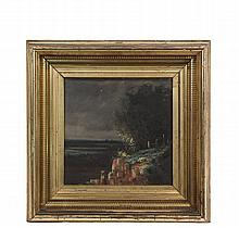 OIL ON CANVAS, 19TH C. - View of Wetlands from Mountain Cemetery, unsigned, circa 1840s, in the original etched lemon gold frame, OS: 12