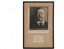 THEODORE ROOSEVELT AUTOGRAPHS - Roosevelt (1858-1919), US President 1901-1909, including: Silver Bromide Photograph Bust Portrait, ink signed on mount, 8 1/2