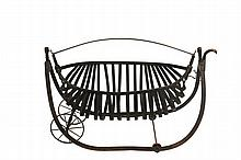 FIELD CRADLE - Bent Hickory and Turned Oak Harvest or Field Cradle, also known as a 'Melon Cradle' or 'Parian Swing', in black paint, marked