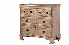 ENGLISH GENT'S CHEST - Diminutive 19th c. Soft Wood Chest in original pickled paint, having molded edge top, with two over two graduated drawers having applied molded fronts, drop ring pulls, set on molded bracket bas..