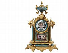 FRENCH MANTLE CLOCK - Japy Freres Gilt Bronze Clock with Handpainted Porcelain panels, dial and finial urn, eight-day time and strike brass movement, the works stamped HP & Co, 250, s/n 19015, the back of the front ti...