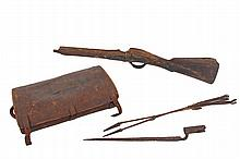 (4 PCS) AMERICANA - Property of the Gay family of Hingham, Mass, including: Musket Remnant and Rusted Bayonet purportedly dug at Gettysburg at the 50th Anniversary celebration; (2) 1870's Sioux Indian Arrows with iron..