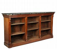 LONG MARBLE TOP BOOKCASE - Single Piece Three Section Mahogany Bookcase with green marble top having molded and shaped top edge, column form stiles, three banks of adjustible shelves, molded base, 43