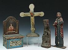 (4) FOLK ART RELIGIOUS WOOD CARVINGS - Including: Crucifix marked on underside
