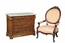 VICTORIAN MARBLE TOP DRESSER & BALLOON BACK ARMCHAIR - Walnut Three-Drawer Dresser with molded white marble top, turret corners, scroll bracketed canted stiles, the graduated drawers have molded panels and knob surrou...