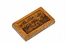 FRENCH MILITARY COMMEMORATIVE CHEROOT CASE - 19th c Fruitwood Case with hinged lid transfer captioned