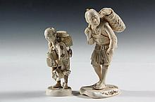 (2) 19TH C JAPANESE CARVINGS - Meiji Period Cabinet Figures or Okimono, both signed on the underside, of two tradesmen, the first a basket seller, 4 1/2