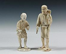 (2) 19TH C JAPANESE CARVINGS - Meiji Period Cabinet Figures or Okimono, the first of a rice cutter, unsigned, 5 5/8