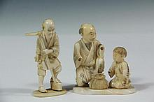 (2) 19TH C JAPANESE CARVINGS - Meiji Period Cabinet Figures or Okimono, the first of farm laborer with hoe, signed, 3