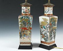 PAIR OF JAPANESE VASES AS LAMPS - Late 19th c. Satsuma Square Baluster Vases, decorated with birds on the sides, a landscape on the back and Manchurian court scene on the front, peonies on the neck, in tapered square ...