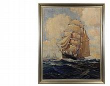 A.B. MARKS (American, active 1950's) - Ship Under Full Sail, oil on masonite, signed lower left, in silver molded frame, OS: 32