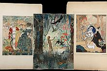 HELEN M. BROWN (early 20th c American Illustrator) - (3) Illustrations for children's books, circa 1910, in gouache and watercolor on board, including: Rumplestiltskin, 11 1/2