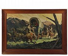 REYNOLD BROWN (CA/NY, 1917-1991) - Wagon Train Evading an Indian Scout, oil on canvas, signed lower right, in oak cove frame, OS: 31 1/2