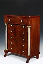 FRENCH MINIATURE DRESSER - Tabletop Figured Mahogany Jewelry Cabinet, late 19th c., in the form of a French Regency Dresser, with overhanging uppermost drawer supported by two faux marble brass fittted columns, five d...