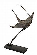 GEORGE A. CURTIS (20th c Owls Head, Maine) - Sting Ray, in hammered and soldered copper, signed and dated 1958 on the underside of the black painted wooden base. Roughly 38