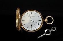 WATCH - Rare 18K Gold & Emerald Waltham Watch. Finely Engraved & Blue Enameled Hunter Case Pocket Watch by American Watch Company; stamped 'AW Company 6022'; movement is marked Appleton Tracy & Co., Waltham, MA #44700.