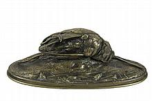 AUGUSTUS NICOLAS CAIN (France, 1822-1894) - Woodcock, tabletop bronze sculpture, signed on the integral plinth, 4 1/4