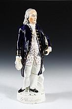 STAFFORDSHIRE FIGURE - Early 19th c Figure of Ben Franklin, mis-identified as George Washington, out of ignorance or spite. 16