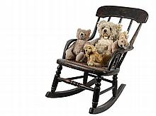 CHILD'S ROCKER & (4) STEIFF TOY ANIMALS - 19th c Country Painted Child's or Doll Rocker with bent arms and caned seat, 10