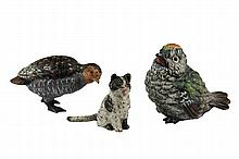 (3) AUSTRIAN COLD PAINTED BRONZES - All 19th c. Small Figures, including: a Cat, a Quail and a Songbird, 1 1/4
