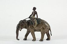 COLD PAINTED AUSTRIAN BRONZE - Figure of an Indian Man Riding an Elephant, realistically rendered, with tusks (one missing), stamped