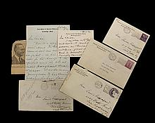 COLLECTION OF FELIX FRANKFURTER (1882-1965) CORRESPONDENCE - Supreme Court Justice, 1939-1962. Close advisor to FDR. (4) Letters to Mrs. David (Saide) Rappaport of Far Rockaway and NYC, all with envelopes, including: ...