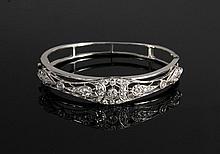 BRACELET - Vintage 14K White Gold Diamond Set Hinged Bracelet with (57) European cut diamonds in a reticulated setting; 13.9 dwt; 1/2