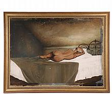 UNIDENTIFIED MAINE ARTIST - Study of Nude Woman in Bed, influenced by Andrew Wyeth (1917-2009), egg tempera on masonite, unsigned, marked in pencil