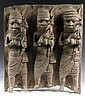 AFRICAN BRONZE PLAQUE - Benin Bronze Guardian Plaque, 17th - 18th c, depicting three Royal soldiers, each with dagger, spear and bird f