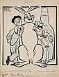 PEN & INK ILLUSTRATION - Caricature by George Wachsteter (1911-2004) for Broadway production of 'Harvey', with Frank Fay as Elwood P