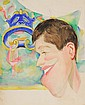 WATERCOLOR PORTRAIT - - Caricature by George Wachsteter (1911-2004) of comedian Jerry Lewis in profile with Greek Tragedy Mask in backg