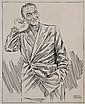 PEN & INK ILLUSTRATION - Drawing by George Wachsteter (1911-2004) of Henry Wilcoxon as the Prosecutor in 1948 production of 'The Vigil