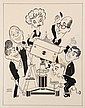 PEN & INK ILLUSTRATION - Caricature by George Wachsteter (1911-2004) for the 1963 CBS Fall Season depicting the Tiffany Network's top