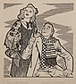 PEN & INK ILLUSTRATION - Drawing by George Wachsteter (1911-2004) of Dorothy Claire and James L. O'Neill in the 1947 Broadway producti