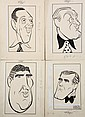 SET (4) PEN & INK ILLUSTRATIONS - Caricatures by George Wachsteter (1911-2004) of four Broadway male stars, Sept 1946, including Lew Pa