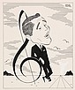 PEN & INK ILLUSTRATION - Caricature by George Wachsteter (1911-2004) of crooner Perry Como, circa 1955, in vaguely Dali-esque landscape