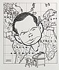 PEN & INK ILLUSTRATION - Caricature by George Wachsteter (1911-2004) of NBC Newcaster David Brinkley, circa late 1961, showing his simp