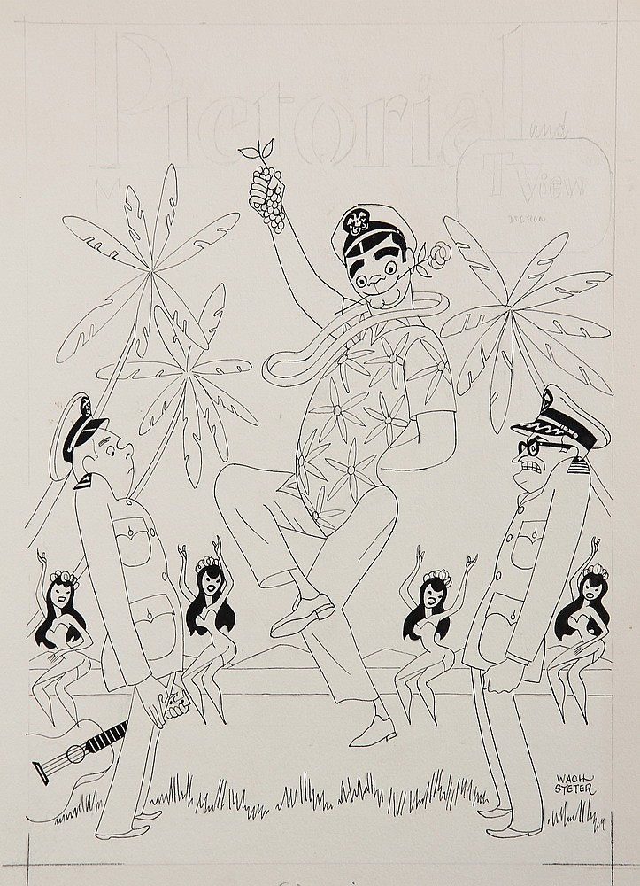 PEN & INK ILLUSTRATION - Caricature by George Wachsteter (1911-2004) for 1962-66 ABC-TV WWII South Pacific Comedy 'McHale's Navy' wi