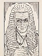 PEN & INK ILLUSTRATION - Drawing by George Wachsteter (1911-2004) of Martyn Green as the Lord Chamberlain in Gilbert & Sullivan's Oper