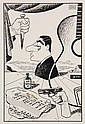PEN & INK ILLUSTRATION - Caricature by George Wachsteter (1911-2004) of Composer and Musician Tony Mottola, 'Mr. Big', author of the