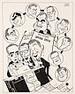 PEN & INK ILLUSTRATION - Caricature by George Wachsteter (1911-2004) of ABC-TV 1960 presidential primary races with Ron Cochran as Anch